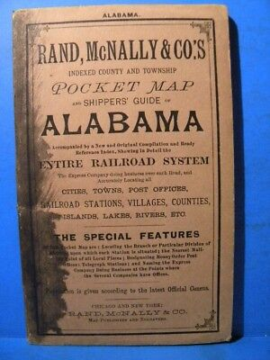 Rand, McNally & Co Indexed County & Township Pocket Map Shippers Guide Alabama
