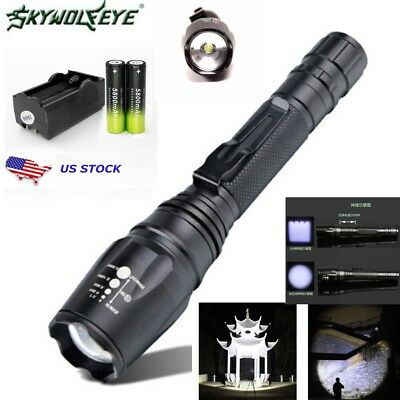 Tactical 50000LM Zoomable T6 LED Flashlight CampingTorch +18650Battery+ Charger