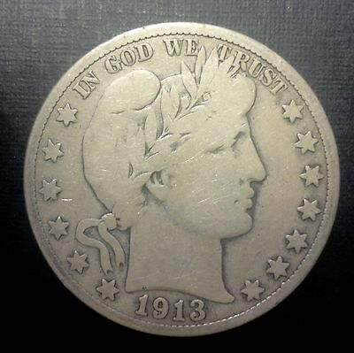 1913-s 50C Barber Half  90 % Silver US Coin #279 F 604K Minted RARE VG+