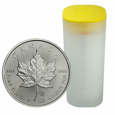 25 - 2019 Canadian Maple Leaf  $5.00 Coins - .9999 Pure Silver - BU - 1 Roll