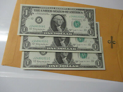 Lot Of3- 1963-B $1 Federal Reserve Notes  (Barr Notes) Consecutive