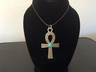 Egyptian Ankh Cross Silver Pendant Turquoise Color Bead Fashion Jewel Necklace