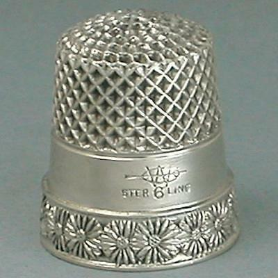 Antique Sterling Silver Child's Daisy Band Thimble by Webster Co * Circa 1900s