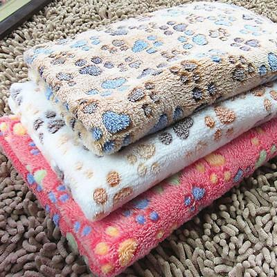 Pet Mat Small Large Paw Print Cat Dog Puppy Fleece Soft Blanket Bed Cushion BE
