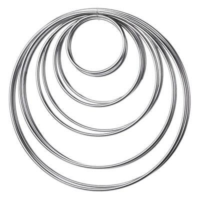 10 Pieces Metal Rings Hoops for Dream Catcher, 5 Sizes (Silver)