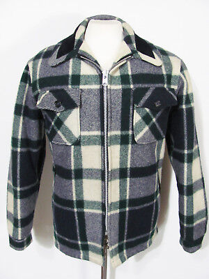 vintage 80s WOOLRICH WOOL NAVY & GREEN PLAID HUNTING CRUISER MACKINAW JACKET L