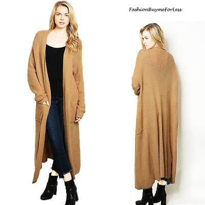 Haute BOHO Brown Open Front Oversized Long Maxi Duster Sweater Cardigan S M  L XL 33503ff98