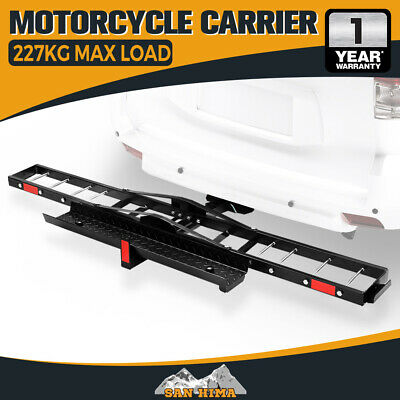 SAN HIMA Steel Motorcycle Motorbike Carrier Rack 2″ Towbar Hitch Mount with Ramp