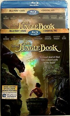 THE JUNGLE BOOK with SLIP COVER * 2016 * BLU-RAY + DVD + DIGITAL HD * BRAND NEW
