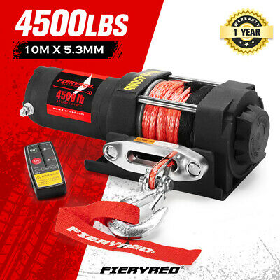 FIERYRED Wireless 3000LBS/1361KG 12V Electric Winch Synthetic Rope Boat ATV 4WD