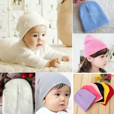 Cute Baby Warm Plain Skull Cap Beanie Candy Color Knit Wool Crochet Slouch Hat