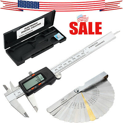 Digital Vernier Stainless Steel Electronic Caliper 150mm/6Inch + Feeler Gauge US