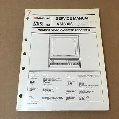 Samsung Service Manual for Monitor VCR Model VM3003