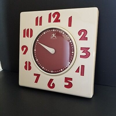 "Modern Art Deco Porcelain Clock 13"" Square White/Red Infinity Gas Station/Wall"