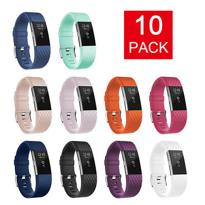 10pcs Fitness Replacement Band Silicone Wristbands for Fitbit Charge 2 TH899