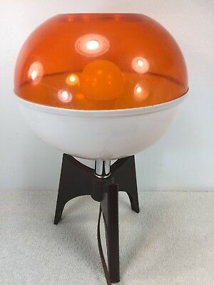 Mid Century Modern Lamp Orange White Plastic Vintage Retro Spaceship Saucer