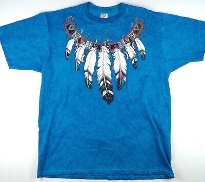 Vintage Native American Feather Dream Catcher Blue T-Shirt Made in USA Size XL