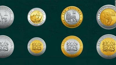 KENYA: New Full set of 4 coins (2018); includes ( 1+5+10+20 shillings) all mint
