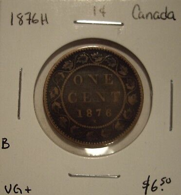 B Canada Victoria 1876H Large Cent - VG+