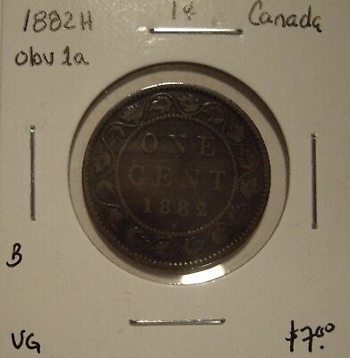 B Canada Victoria 1882H Obv C1a Large Cent - VG
