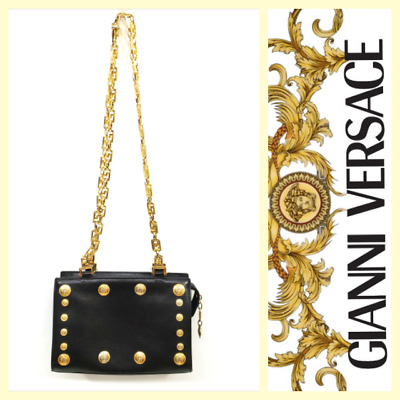 Gianni Versace Couture vintage black leather bag w gold medusa hardware 712c2b4d0c