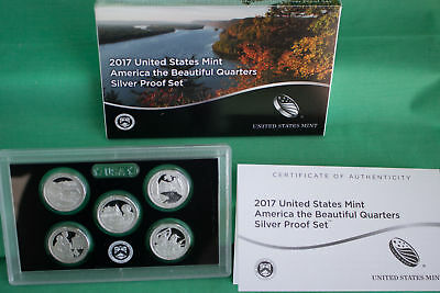 2017 America the Beautiful Quarters US Mint Silver Proof ATB Coins Box and COA