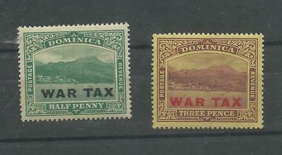 Dominica stamps. 1919 War Tax Pair MH (D556)