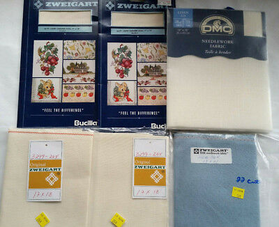 Aida Cloth Lot of 6 New in Package Zweigart DMC 18  22  28 CT