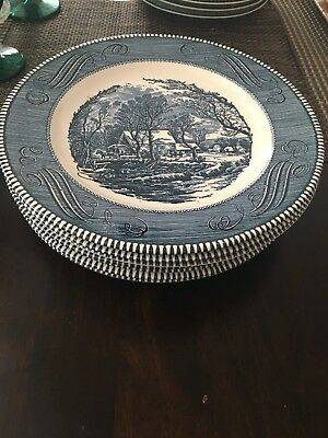 """Set of (7)Currier and Ives 10"""" Dinner Plates Old Grist Mill Royal Ironstone Blue"""