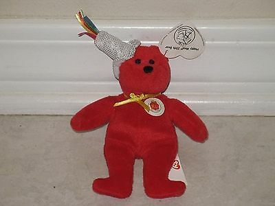 638d012fc89 2004 Ty Teanie Beanie Babies Red McDonald s 25th Anniversary Happy Meal Bear