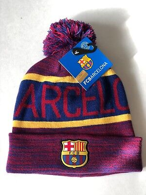 FC BARCELONA KNIT Cap Navy Blue Winter hat Official FCB product ... 3f01ae898a3