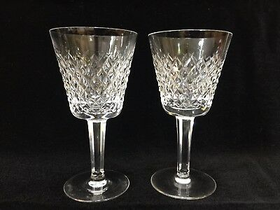 """Pair of Waterford Crystal Alana Pattern Claret Wine Goblets, 5 7/8"""" Tall x 3"""" W"""