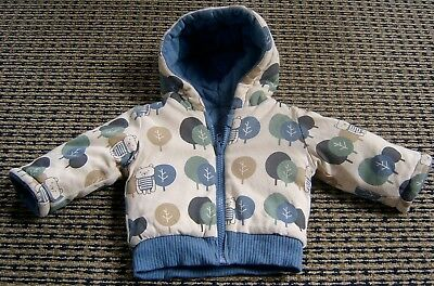 Baby Boys Reversible Hooded Cotton Jacket By Sookibaby Sz 0 - 3 Months