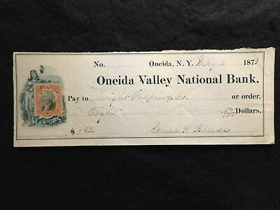 1873  Bank Check  Oneida Valley National Bank {{Detailed}}  With Revenue Stamp!
