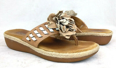 dc1346cfd58 Michelle D Size 5.5 US Women s Telma Sander Rice Flower Wedge Thong Sandals