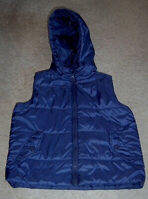 Ouch Boys Navy Hooded Puffer Vest Sz 5 Like New