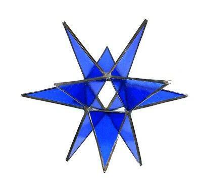 BLUE 3D Stained Glass stain tiffany-style STAR hanging or sit display sun