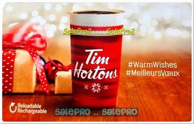 Tim Horton 2018 Warm Wishes Coffee Reloadable Rechargable Collectible Gift Card