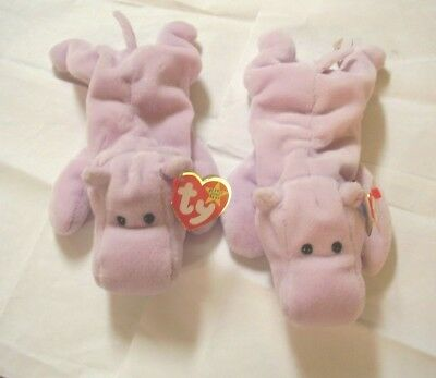 f630f59c1ef Happy Hippo TY Beanie Baby WITH ERRORS- LOT OF 2- NEW
