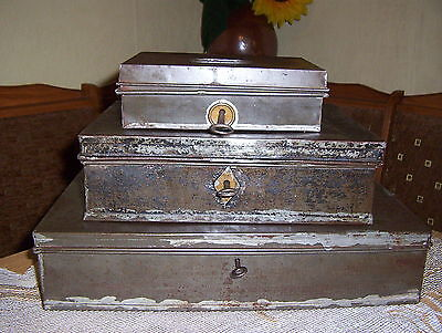 Old metal money boxes 1920s/1930s with keys