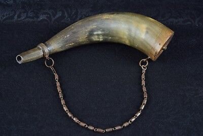 Antique Black Powder Horn Flask Sudan 1898 13 Inches