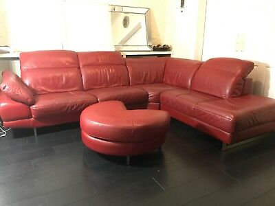 DFS RED LEATHER Corner Sofa 5 seater, w/ large foot stool ...