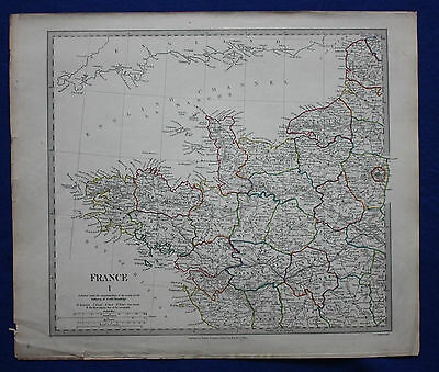 Original antique map NORTH WEST FRANCE, PARIS, BRITTANY, LOIRE, SDUK c.1830