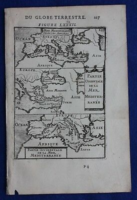 Original antique map MEDITERRANEAN, EUROPE, NORTH AFRICA, A.M. Mallet, 1683