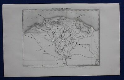 Original antique map EGYPT, NILE DELTA, ALEXANDRIA, CAIRO, GIZA, Dufour, 1859