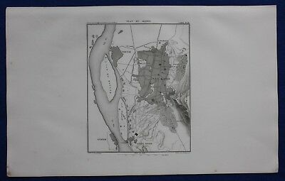 Original antique map EGYPT, 'PLAN OF CAIRO', NILE, GIZA, T. Duvotenay, 1859
