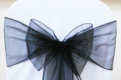 200 Large BLACK Organza Chair Cover Sashes Bow Wedding Party