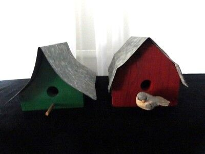 Lot of 2 Wood and Galvanized Metal Roof BIRD HOUSES Country Decor  OOAK