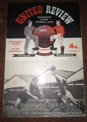 Manchester United v Bolton Wanderers Monday 25th March 1957 Div 1 +TOKEN