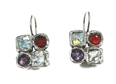 Roman Glass Silver Earrings 925 Ancient Fragment 200 B.C Patina Israel Sterling